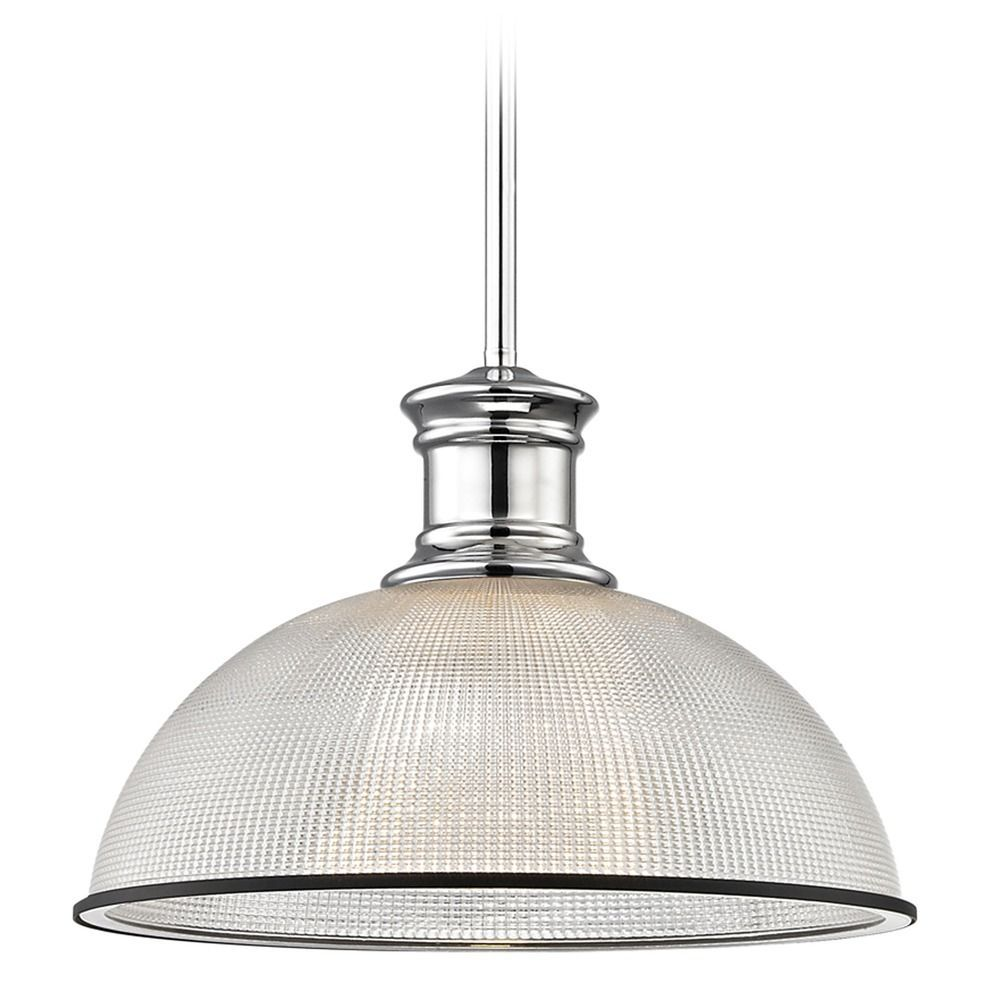 Industrial Pendant Light Prismatic Glass Black Chrome 13 13 Inch