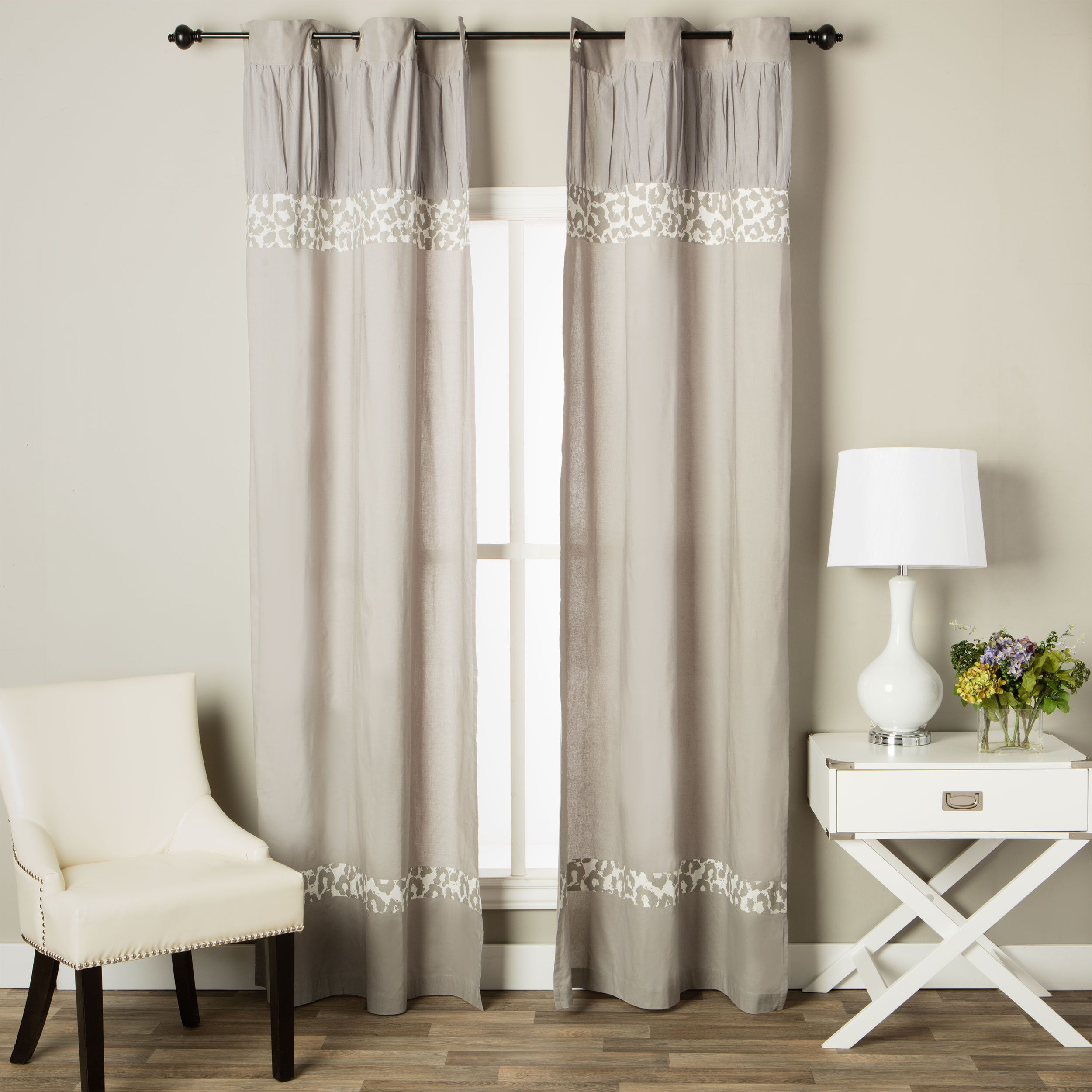 Andrew Charles Snow Leopard Collection Animal Print Cotton Curtain Panel 96 Window Grey Size 42 X