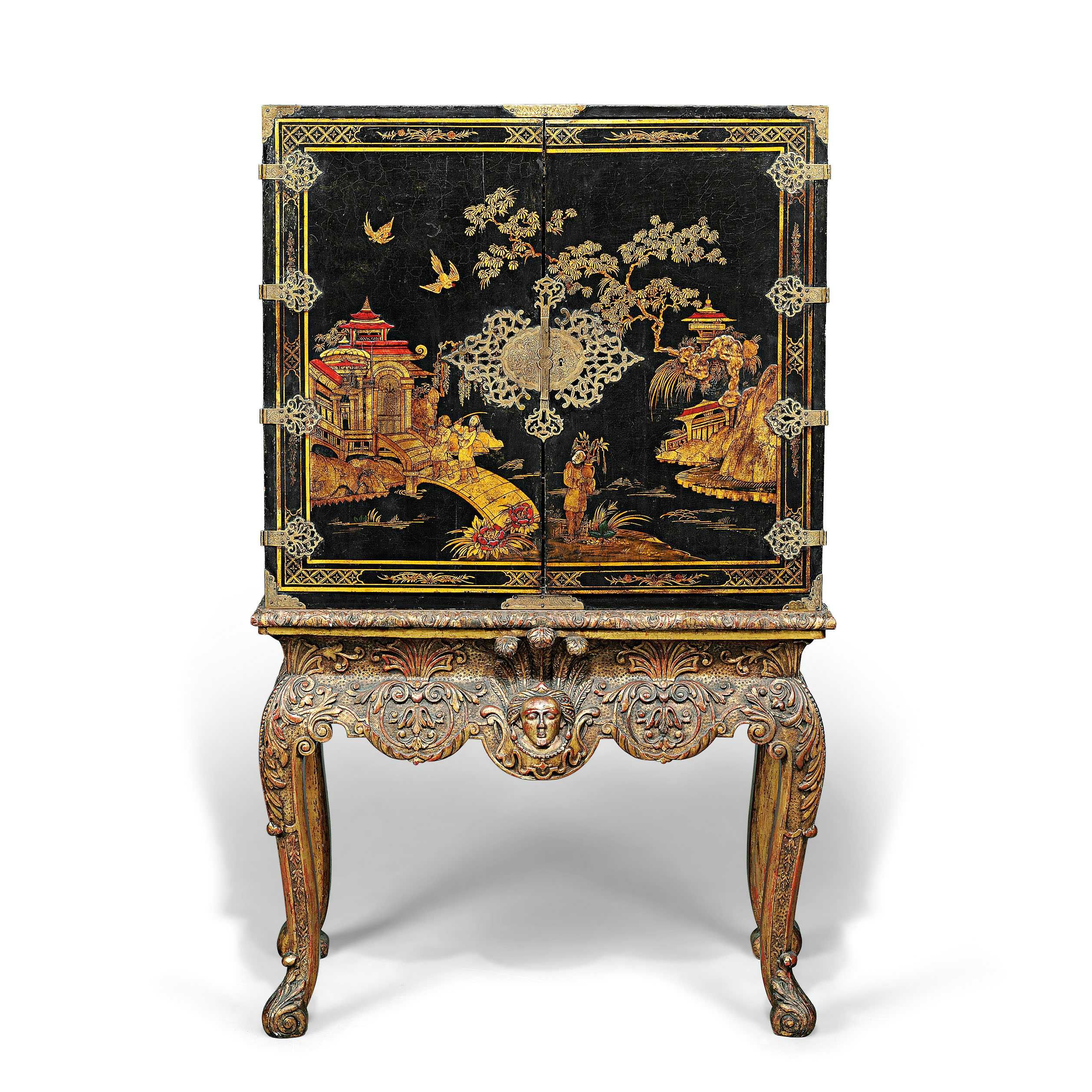 A Brass Mounted Black Gilt And Polychrome Japanned Cabinet On
