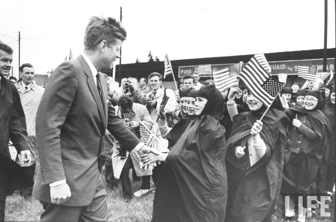 Irish schoolchildren waving flag as they greet President John F. Kennedy (C).Ireland June 1963 ✾❤✾❤❁❤❃❤❁❤❁❤❁❤❁❤ Viewer/Archives/JFKPOF-117-015.aspx  http://en.wikipedia.org/wiki/John_F._Kennedy  http://en.wikipedia.org/wiki/JFK_in_Ireland http://www.jfklibrary.org/JFK/JFK-in-History/John-F-Kennedy-and-Ireland.aspx