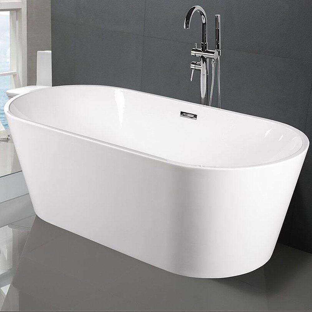 Small Bathtub 59 Inch Mini Freestanding With Drain Hose Acrylic Soaking Spa Bath Tub