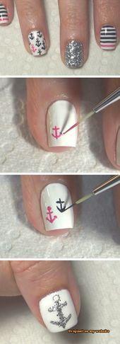 Nail Art Summer 2019 – Nautical Nail Art | 18 eenvoudige zomernagels ontwerpen voor …..