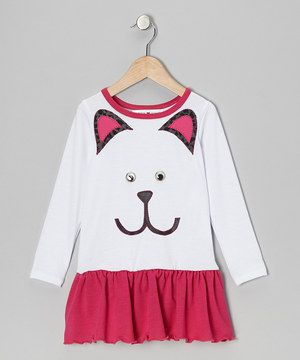 White & Fuchsia Kitty Drop-Waist Dress - Infant, Toddler & Girls by little bits #zulily #zulilyfinds