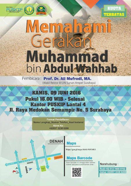 Seminar Buber Mengenal Pergerakan Dakwah Muhammad Abdul Wahhab oleh Wakil Rektor UIN Sunan Ampel Surabaya Untuk lebih jelasnya silahkan kunjungi norkandirblog.wordpress.com