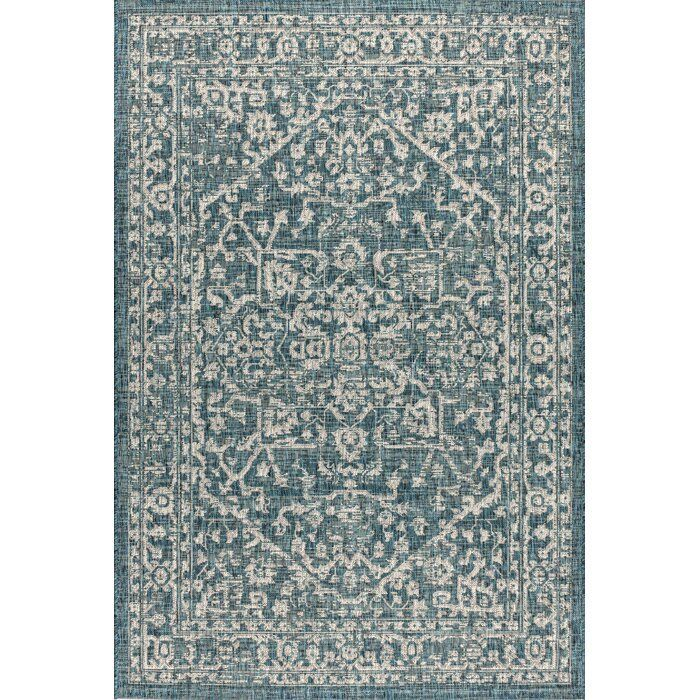 Massimo Medallion Textured Weave Teal Indoor/Outdoor Area Rug & Reviews | Joss & Main