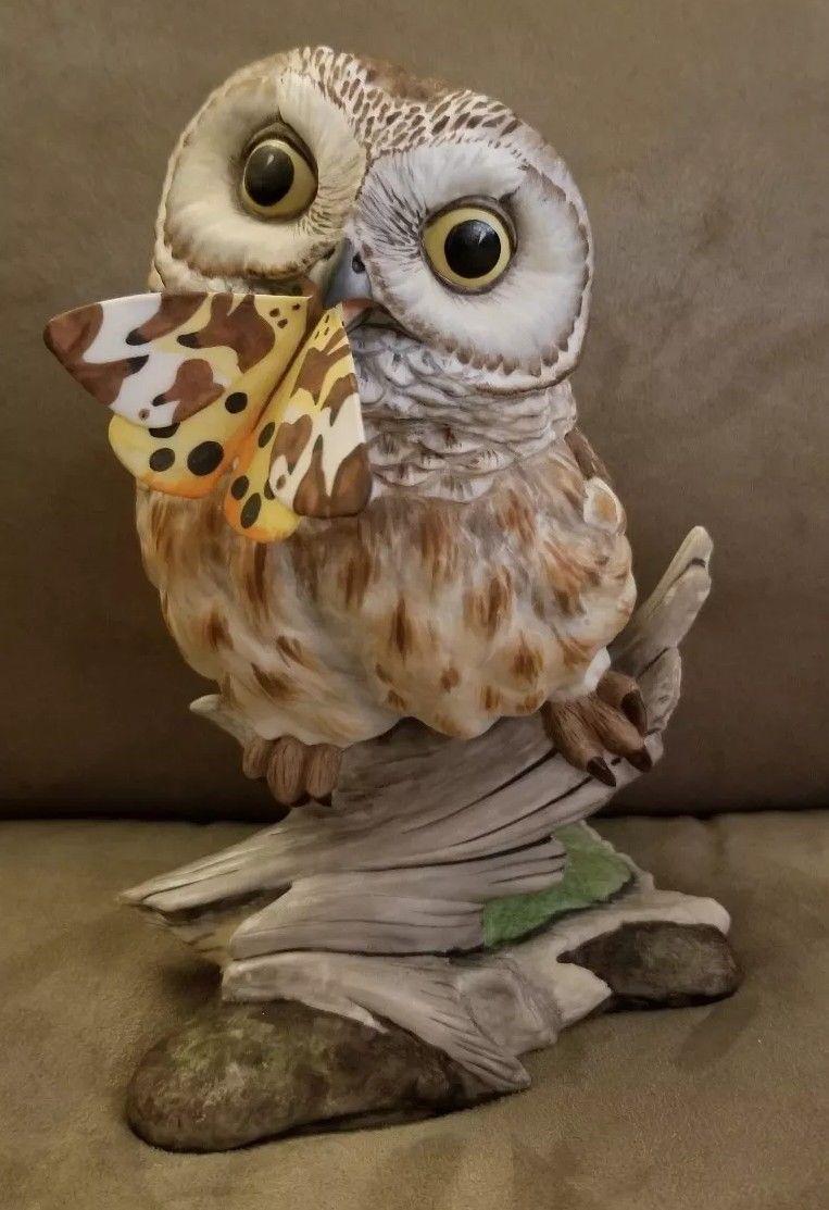 BOEHM PORCELAIN SAW WHET OWL BIRD WITH BUTTERFLY FIGURINE #4-4
