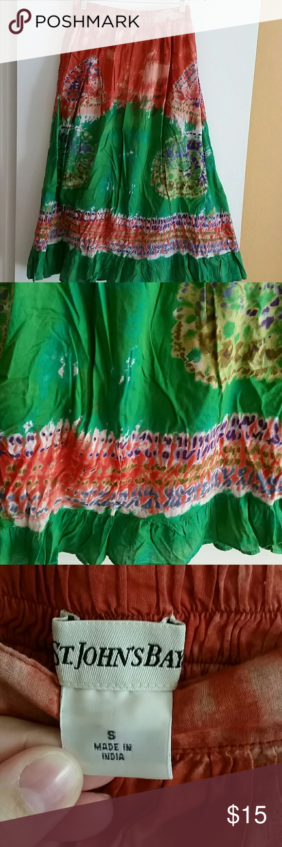 Maxi skirt Euc, beautiful colors! Elastic waist,  slightly adjustable,  fully lined, the cotton underneath lining is manually ripped so the legs would have more flexible in walking, minor imperfection that is not noticeable. St. John's Bay Skirts Maxi