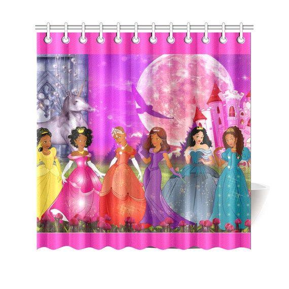 Princess Shower Curtain Curtains Nurse Gifts Pink Green
