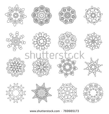 Set Of Christmas Doodles Snowflakes Fractals Or Mandala Icons Coloring Page With Holiday