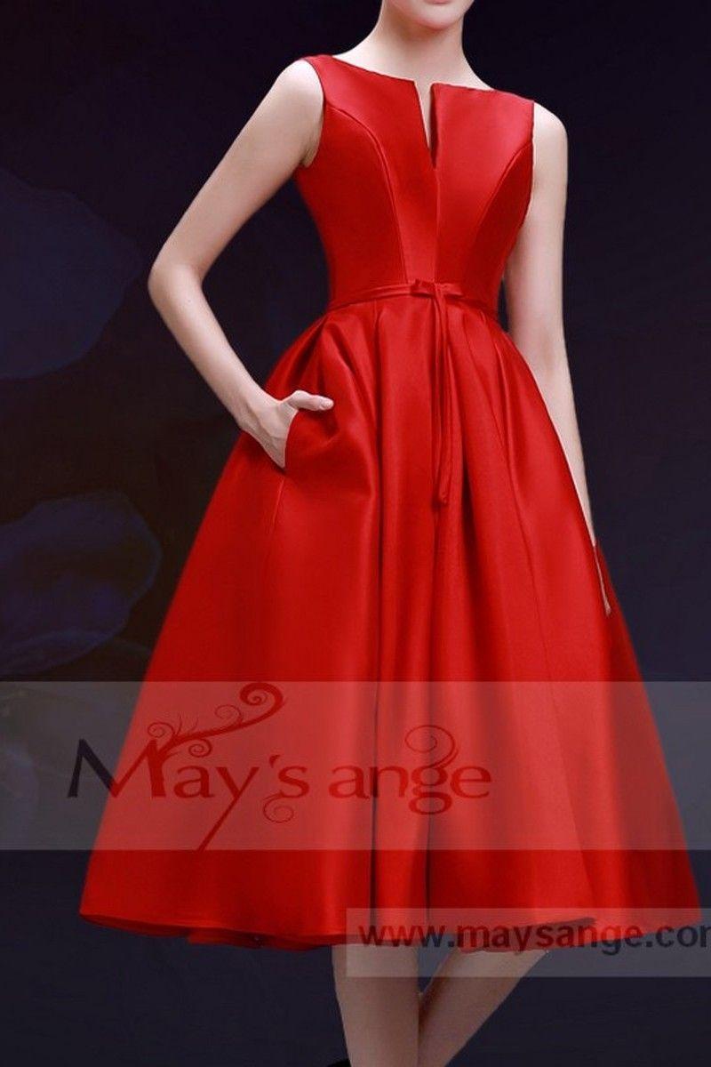 a5b4f963d0c robe de cocktail C756 rouge feu