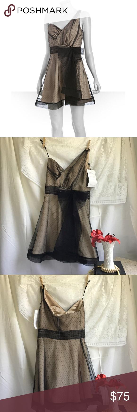 One side strap wedding dress  NWT Allen Schwartz One Shoulder Bow Dress Size  NWT One shoulder