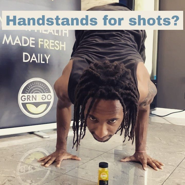 Ok so floor to handstand first try gets = FREE cold pressed shot! Obviously 😎  Skills @jaysz_story !!! . .