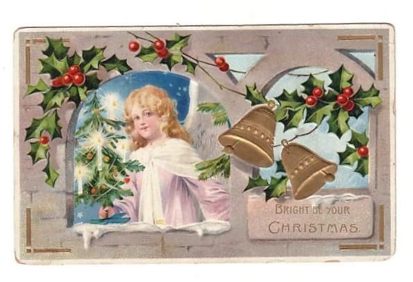 free angel postcard image | Vintage Postcard Little Christmas Angel (Image1)