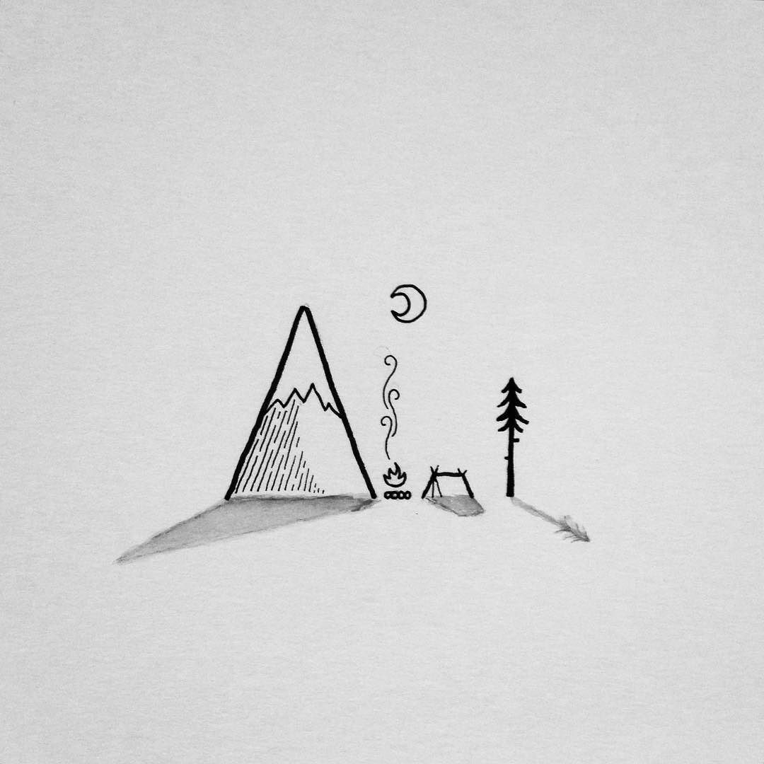 Camping Near The Lonely Mountain Drawing Art Penandink Doodle