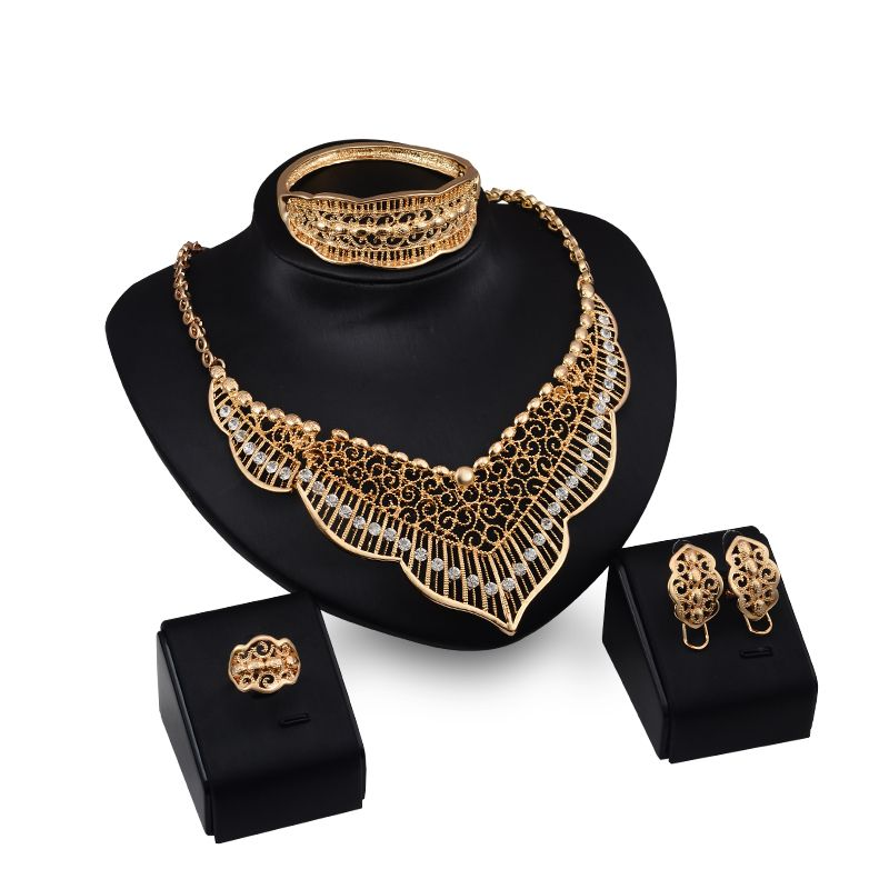 African Beads Jewelry Sets Hollow Crystal Necklace Earrings Bangle