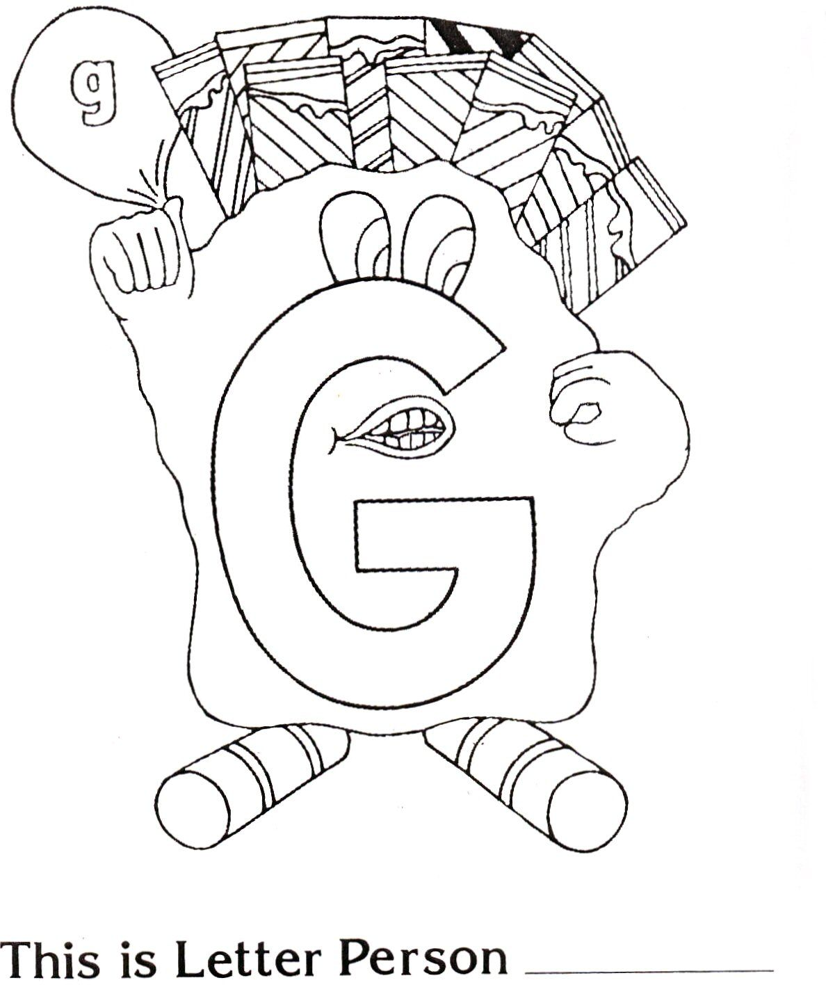 Brilliant Beginnings Preschool Letter Person G Coloring