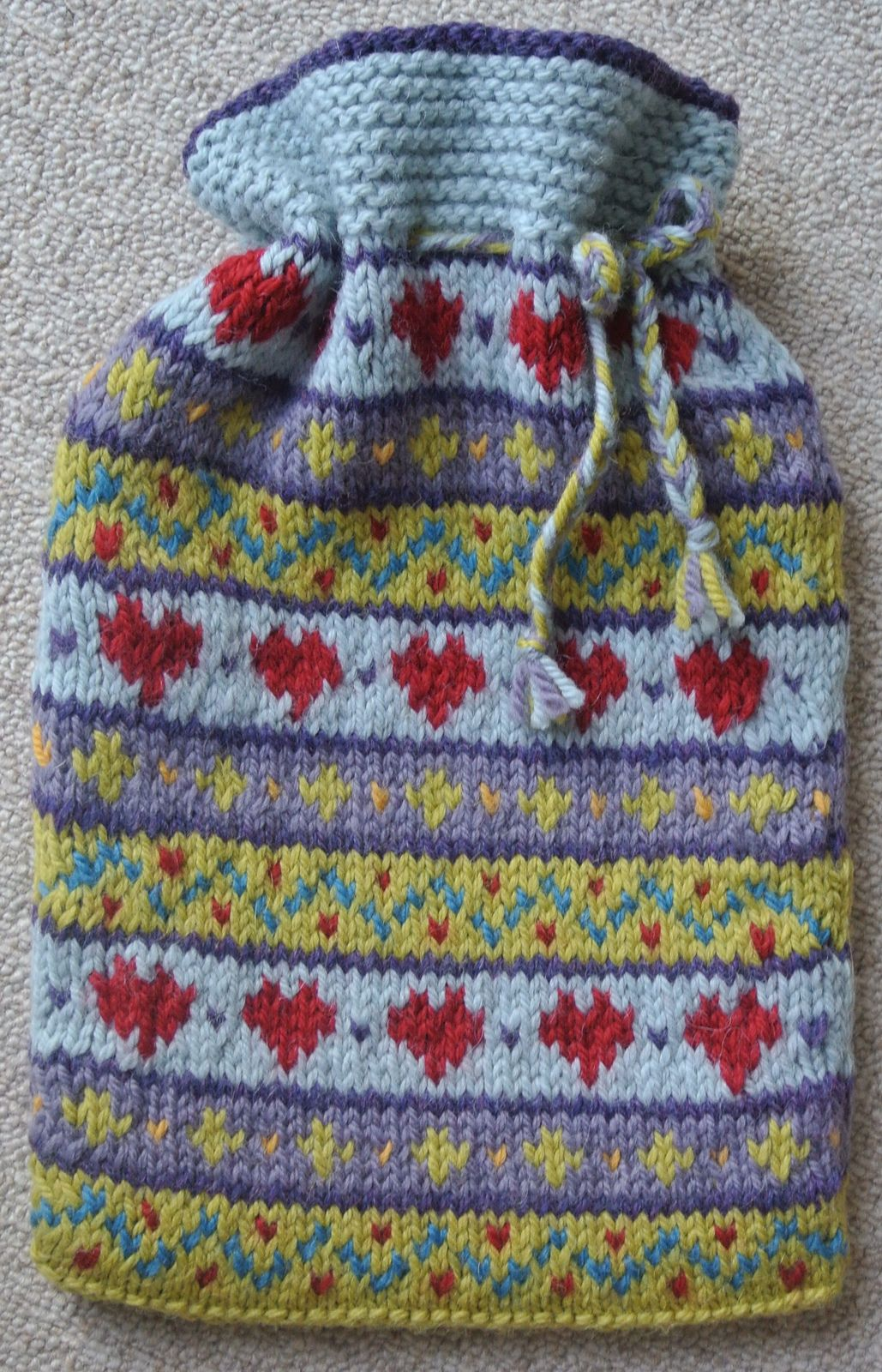 Ravelry: hearts Fairisle Hot Water Bottle Cover by Sian Brown ...