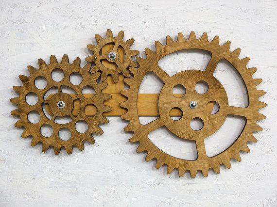 Mechanical Wall Art Kinetic Wall Art Decor Rotating Wooden Gears Wall Decor Sculpture Steampunk Wall Decor Wooden Gears Steampunk Wall Art Wooden Wall Art