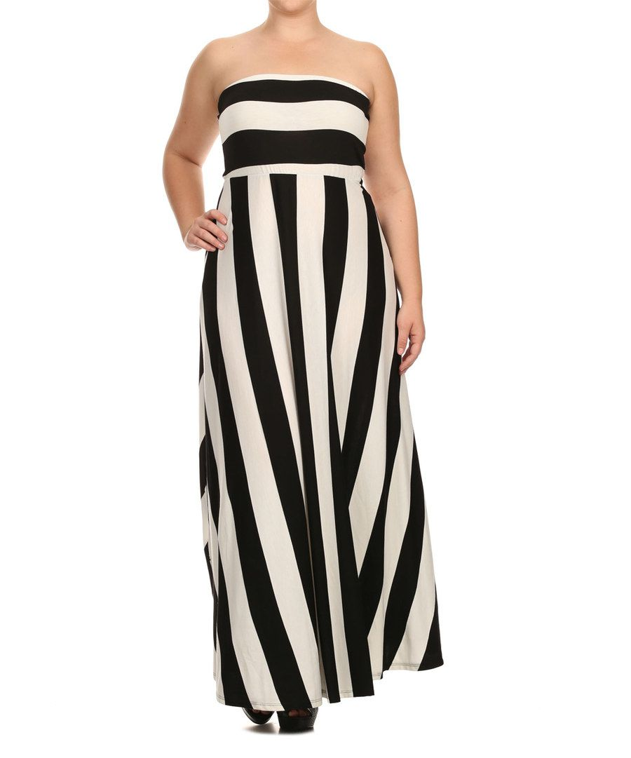 dcdf5eccd114 Look at this Black & White Stripe Strapless Maxi Dress - Plus on #zulily  today!