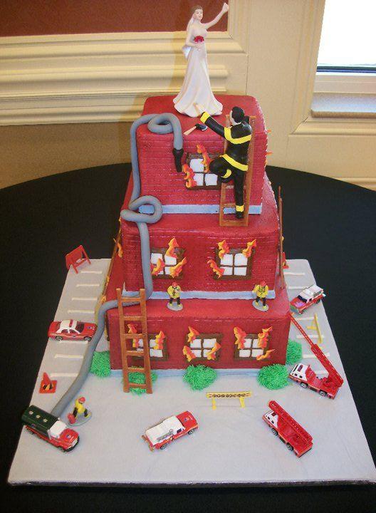 Wedding cake Firefighter theme by wwwamericandreamcakescom