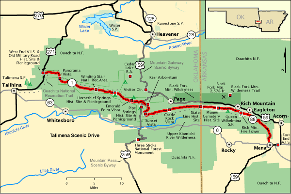 map of talimena national scenic byway | talimena scenic drive ... Cedar Lake Oklahoma Map on