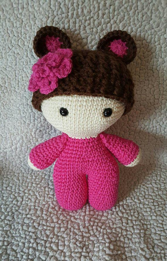 Crochet Teddy Bear Big Head Doll, Crochet bear doll, crochet big ...