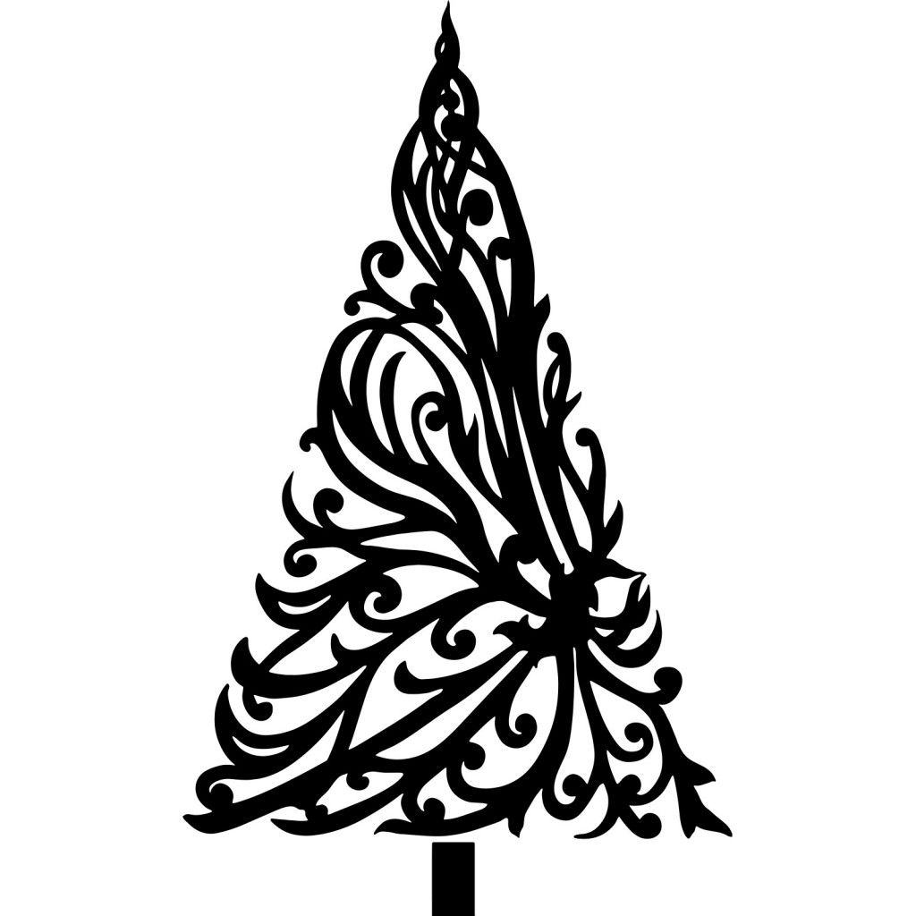 Black Christmas Trees With Floral Drawings For Cards Decoration