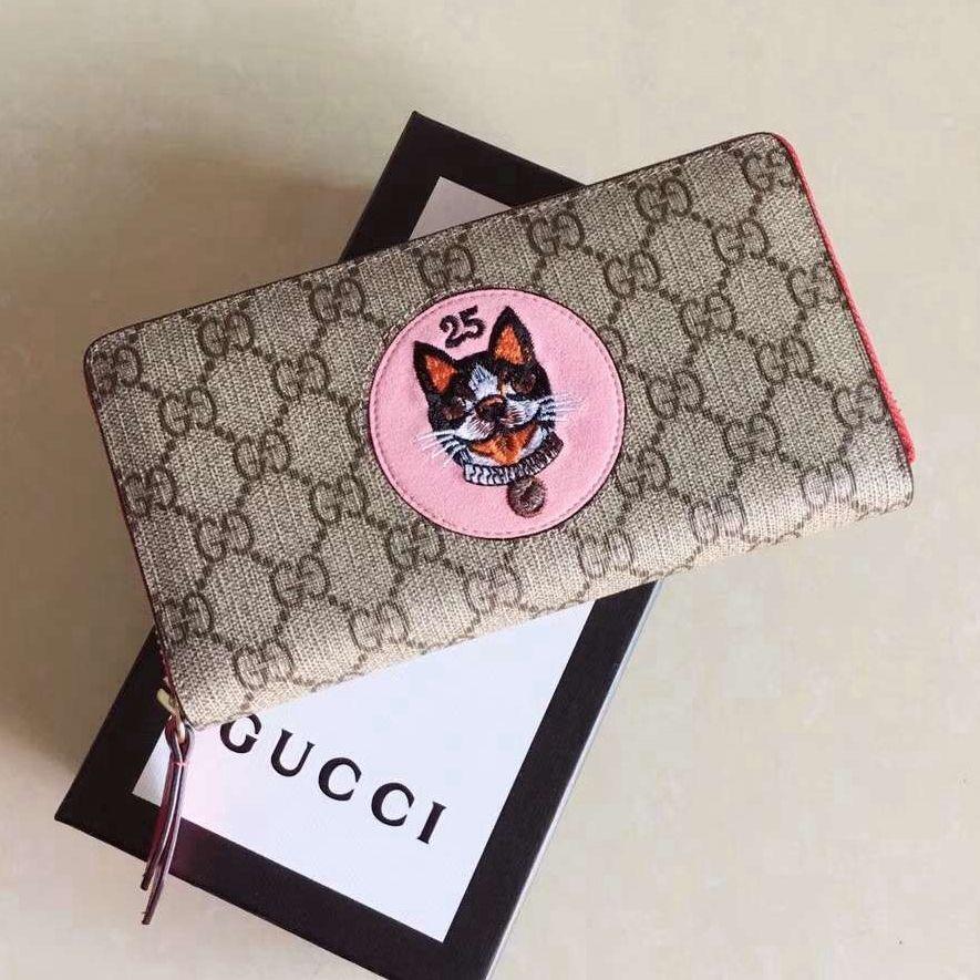 1507d6254d7d Gucci Dog Embroideried GG Zip Around Wallet 506279 Pink 2018   Gucci ...