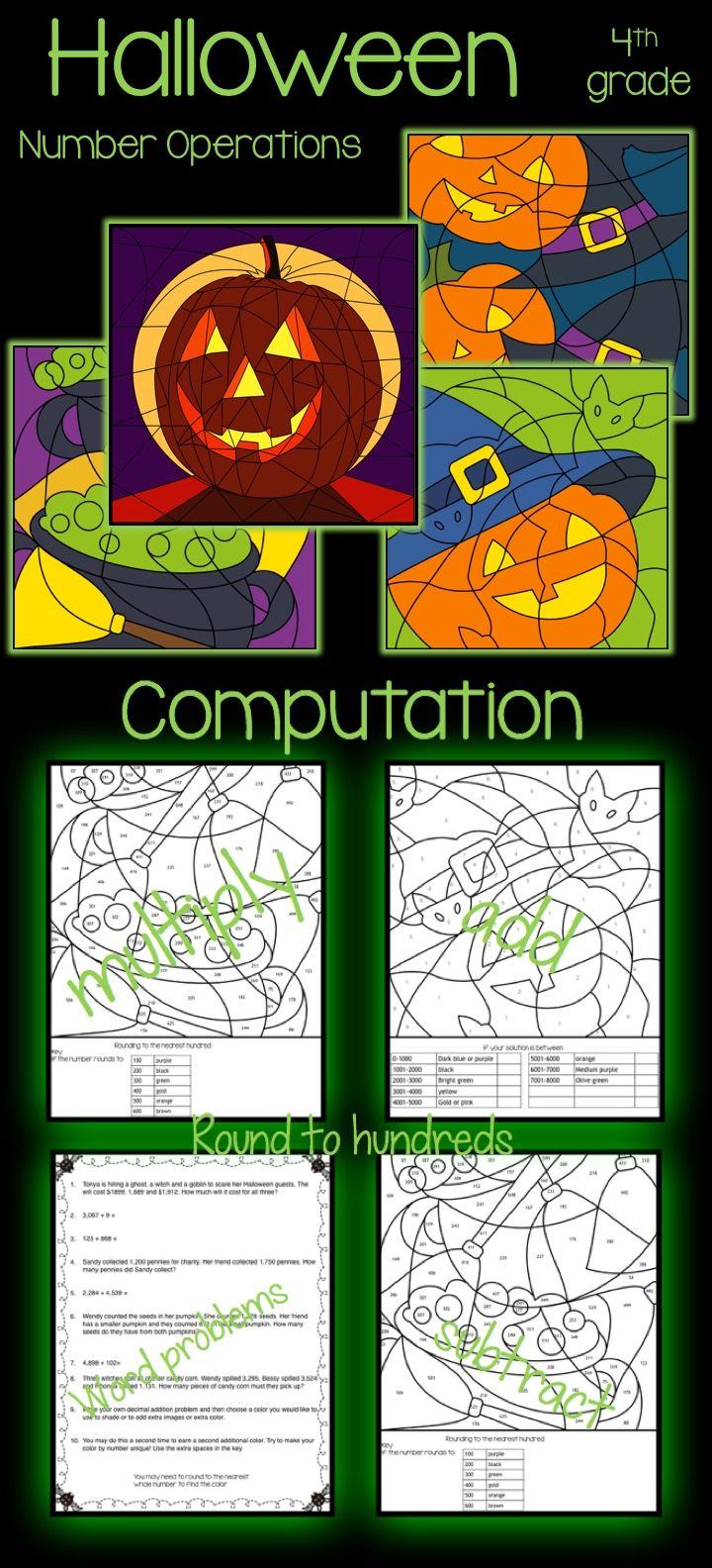 Halloween Color by Number | Word problems, Equation and Multiplication