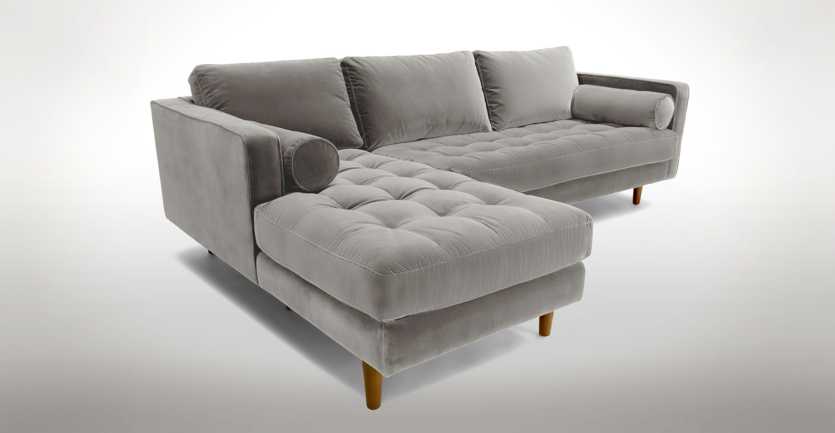 Light Gray Velvet Left Sectional Tufted