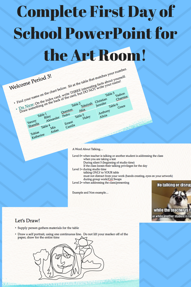 First Day PowerPoint for the Art Room Visual art lessons