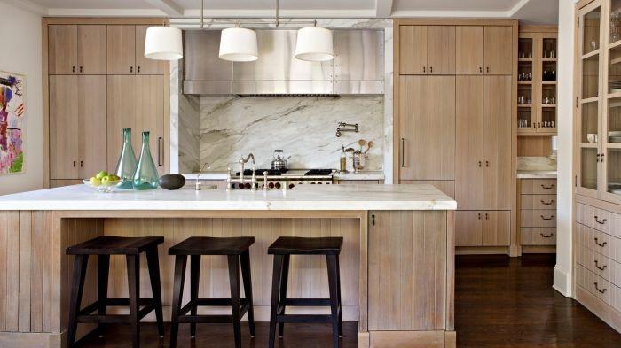 Idée relooking cuisine \u2013 modèle de cuisine moderne avec meubles bois - Cuisine Contemporaine Avec Ilot