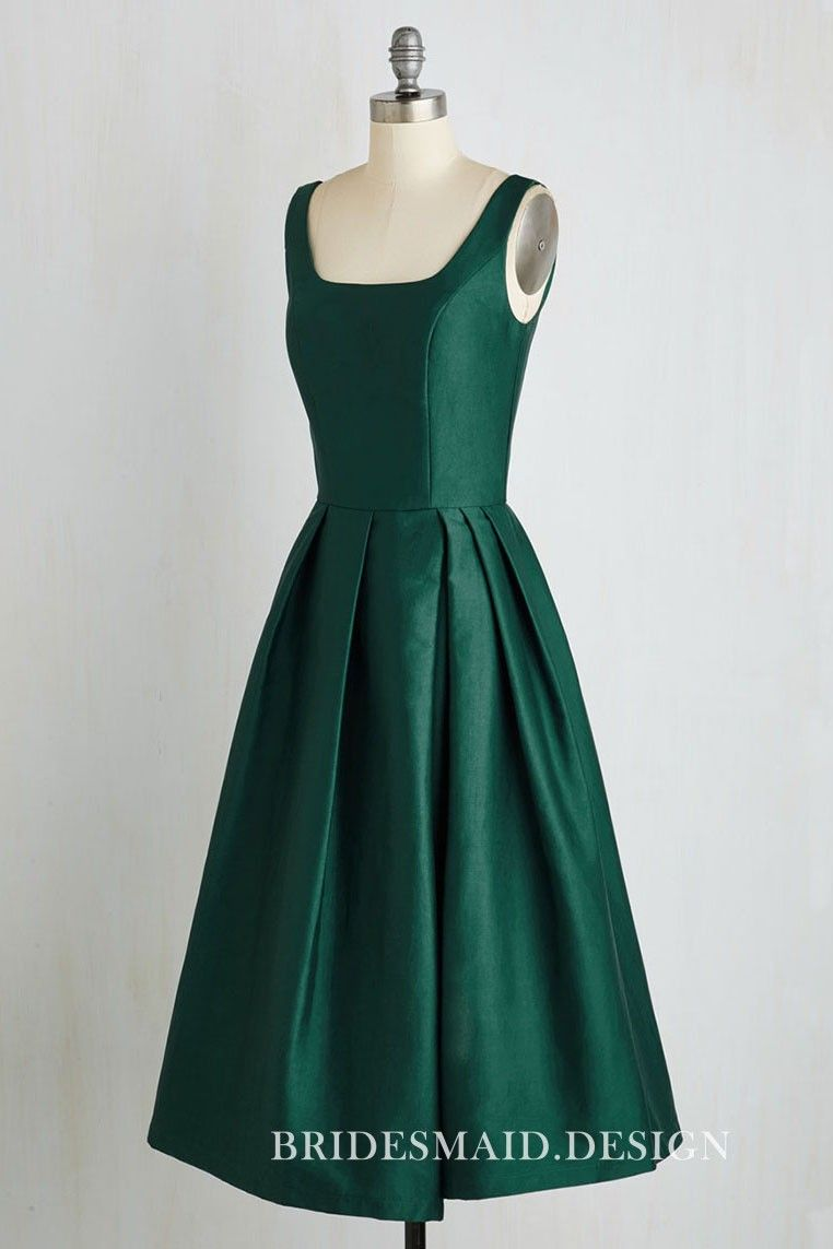 107dd1fd22 Tea Length Emerald Green Satin Sleeveless Scoop Neck A-line ...