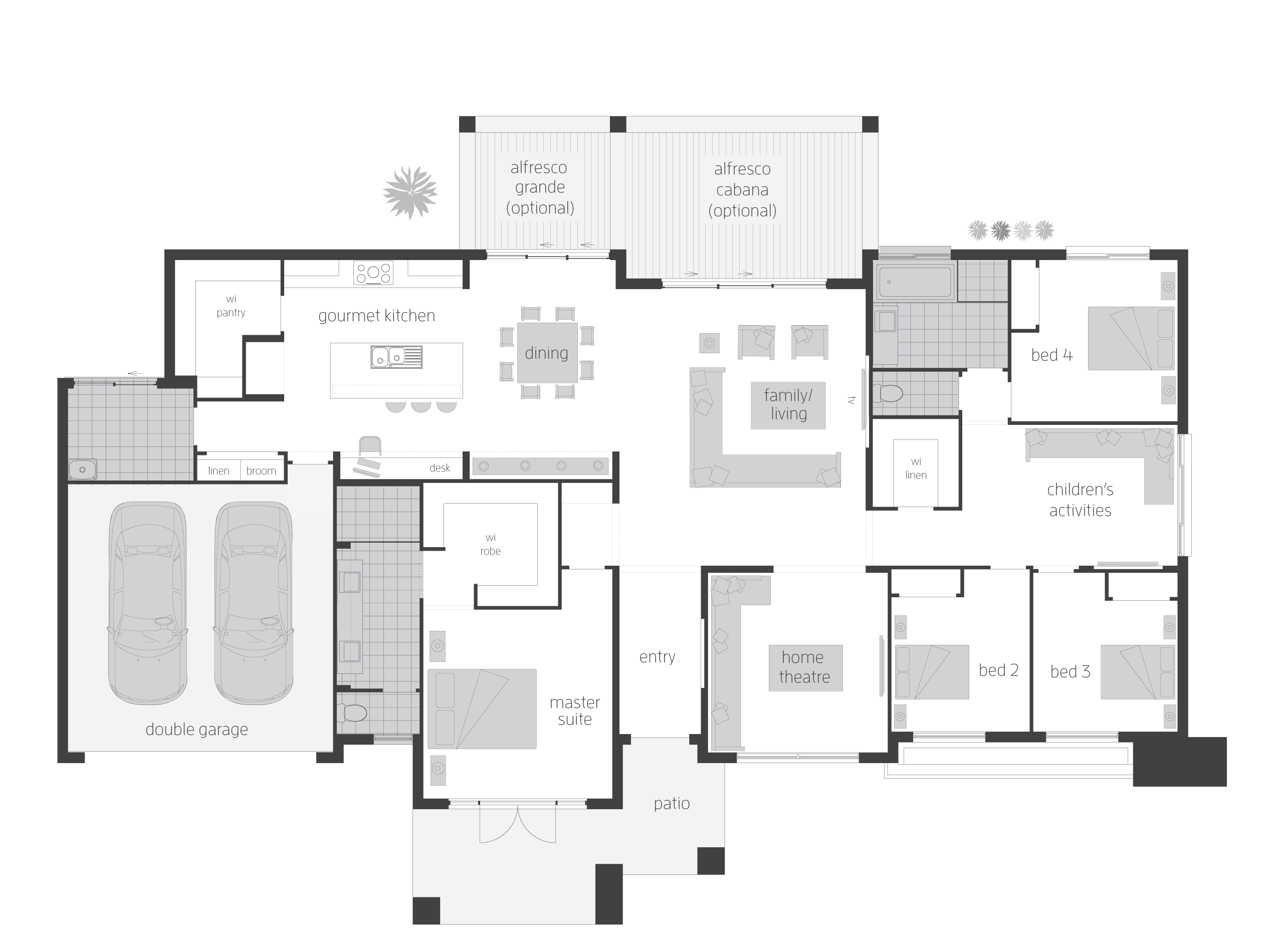 Floor plan for block with changes swap main bed garage for Rear block house designs