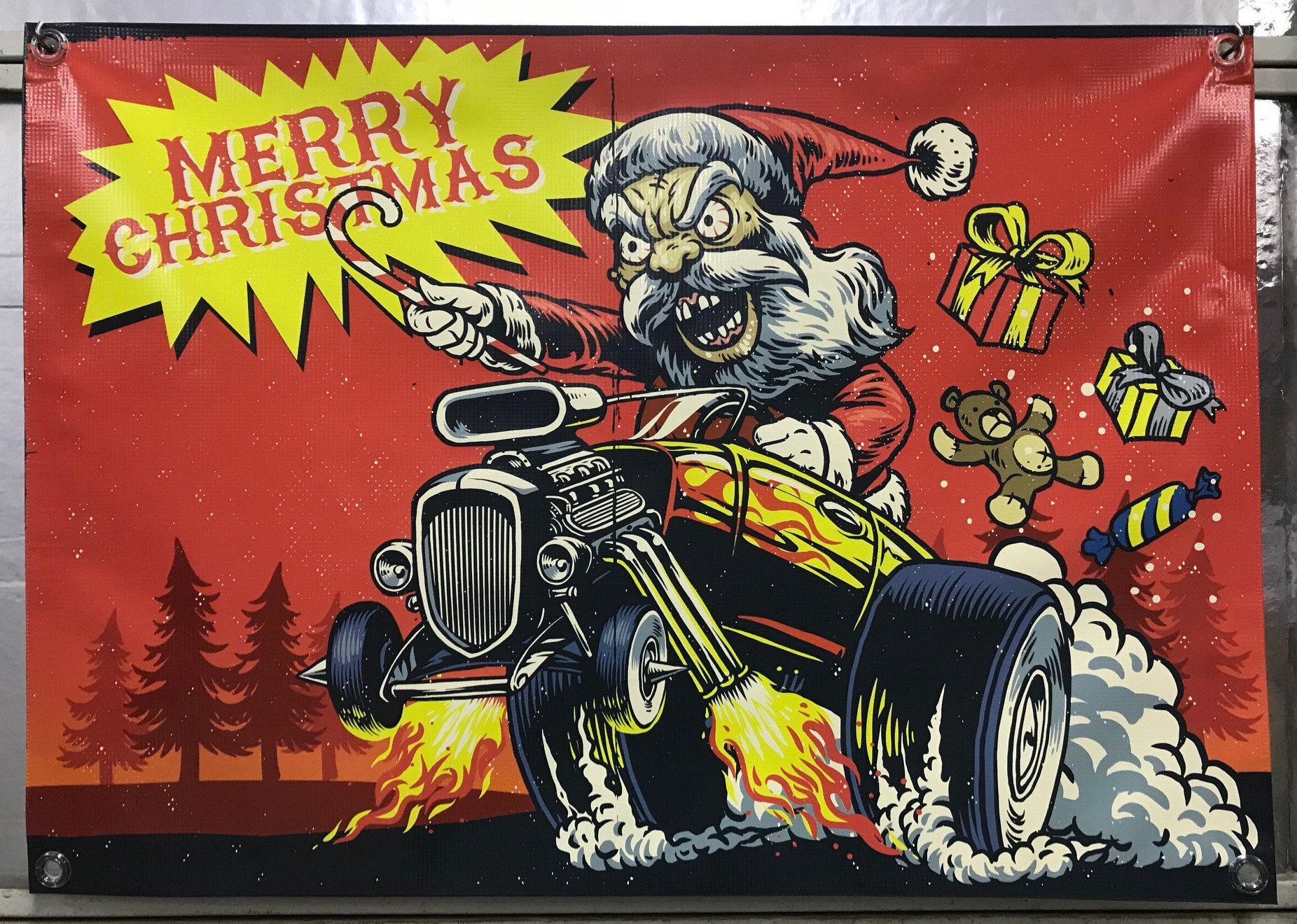Hot Rod Santa Christmas Banner Merry christmas ya filthy