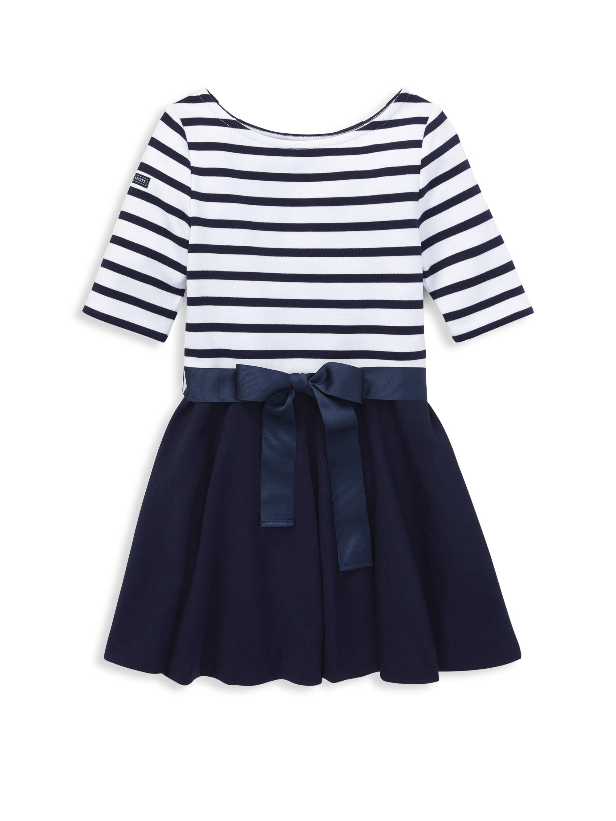 2eb1ee261c985 Ralph Lauren Little Girl's Stripe Fit-&-Flare Dress - French Navy 6X ...