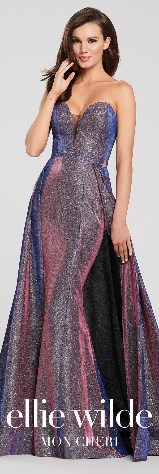 a2958f712e Strapless Novelty Stretch Glitter Fit   Flare Prom Dress- EW119065 in 2019