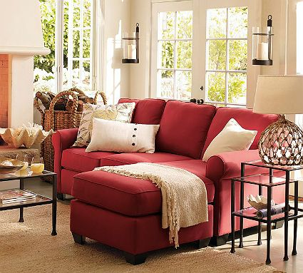Pottery Barn Inspiration Room Is Casual And Inviting The Bold Red Sofa With Chaise Calls Guests In Red Sofa Living Room Red Couch Living Room Living Room Red