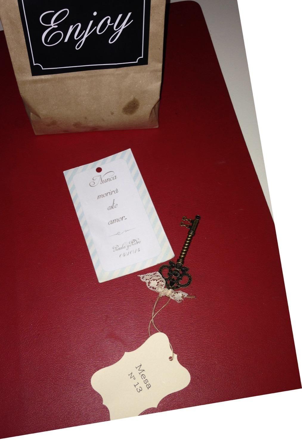 La llave paa ir a tu mesa, la frase, la bolsota con golosinas #bodaPYP