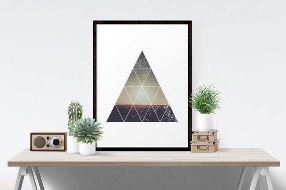 Geometric Art, Geometric Art Printable, Modern Minimalist Bohemian Geometric Art Triangle Desert Sunset Geometric Art Printable
