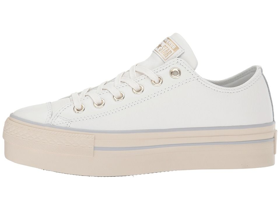 9f55ca8d16b1 Converse Chuck Taylor(r) All Star(r) Platform Leather Ox Women s Classic  Shoes Star White Light Gold Turtledove