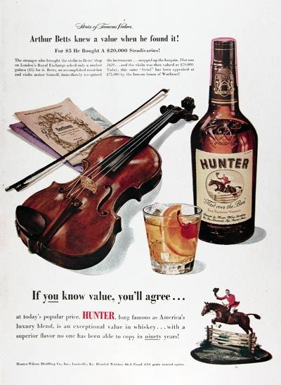 Original Print Ad 1950 Hunter Blended Whiskey If You Know Value 1940-49