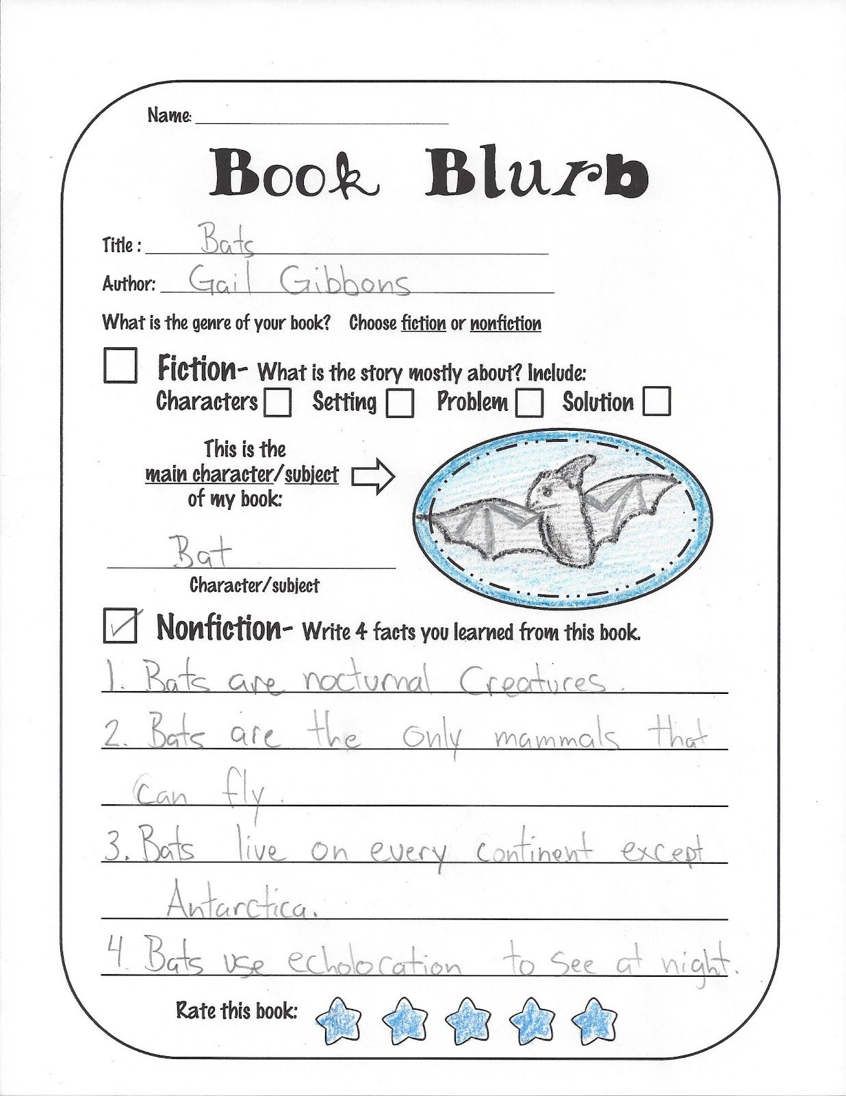Book Blurb For Students To Fill Out After Reading A Book