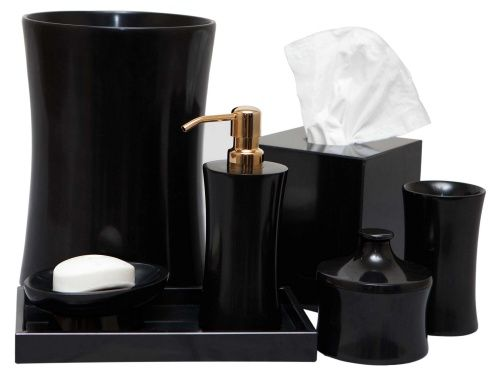 Bathroom Accessories Jet Black Marble