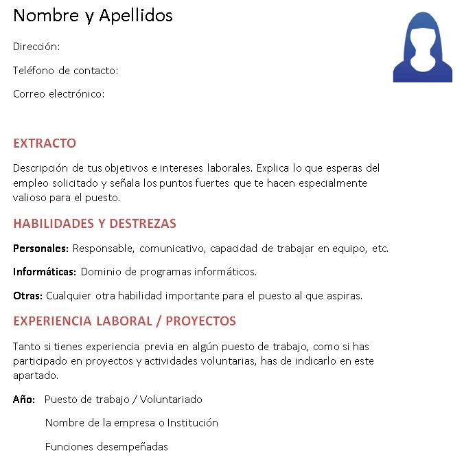 Ejemplos de Curriculum Vitae sin estudios | Enlaces 4 | Pinterest ...
