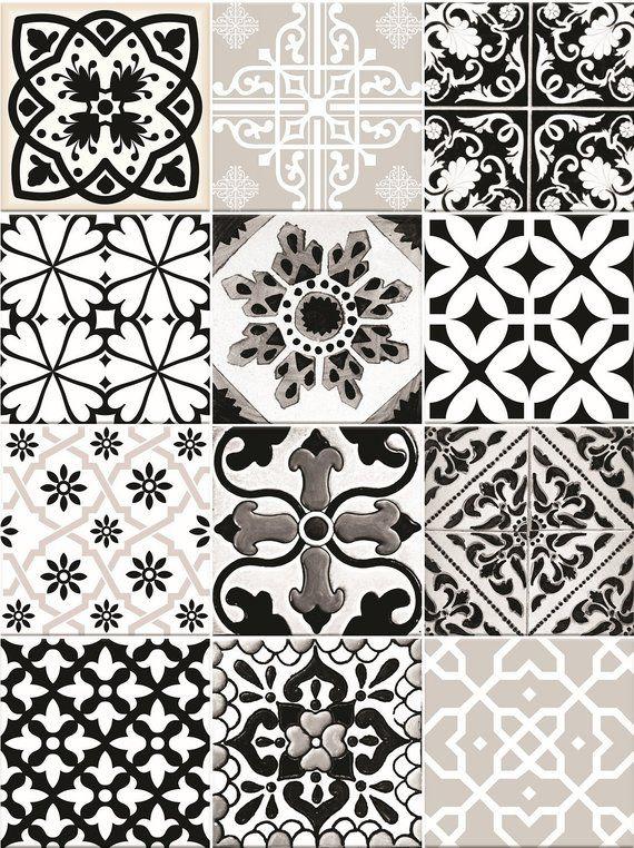 Black & White Tiles Decals bathroom stickers set mixed