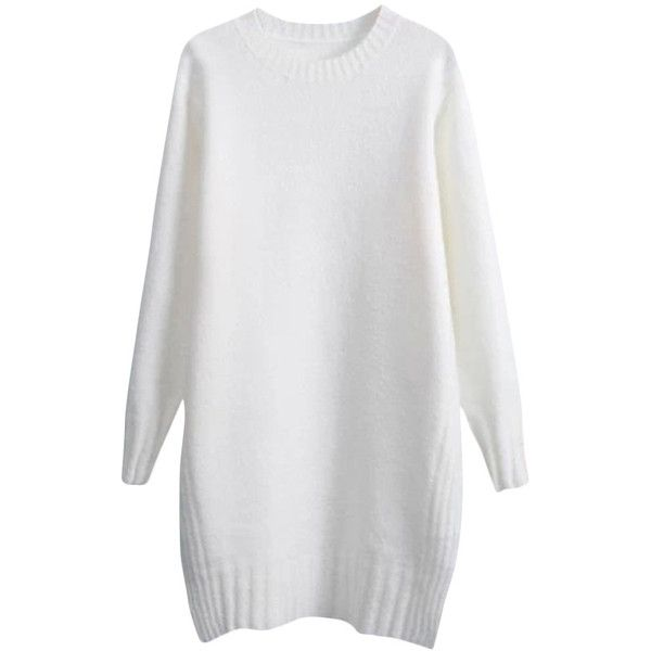 Solid-tone Side-slits Loose Md-long Knitwear ($28) ❤ liked on Polyvore featuring dresses, sweaters, tops, blackfive and jumper