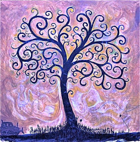 SINCRONIA: DESCUBRIR Y SANAR EN GRUPO EL ÁRBOL FAMILIAR - Imagen: Variación sobre The Tree of Life by Timothy Parish  ➔