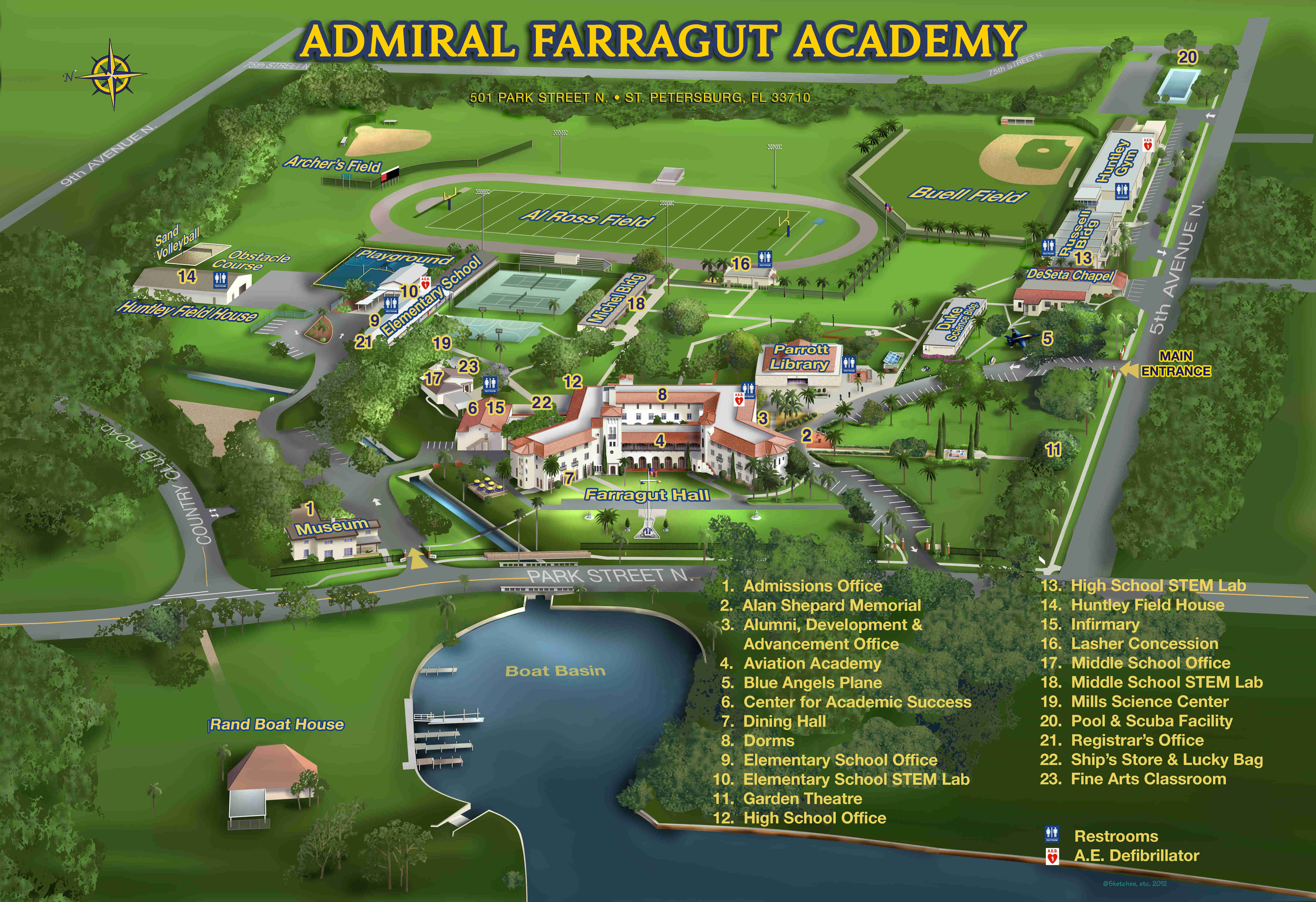Homestead High School Campus Map.View The Admiral Farragut Academy Campus Map In St Petersburg Fl