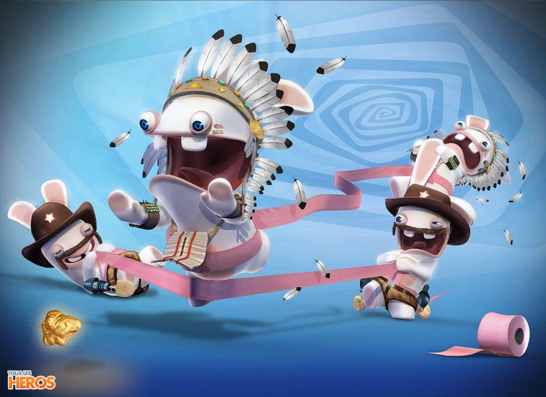 Fonds d'écran Lapins Crétins déguisés en indiens et cow-boy et en train de jouer avec du papier ...